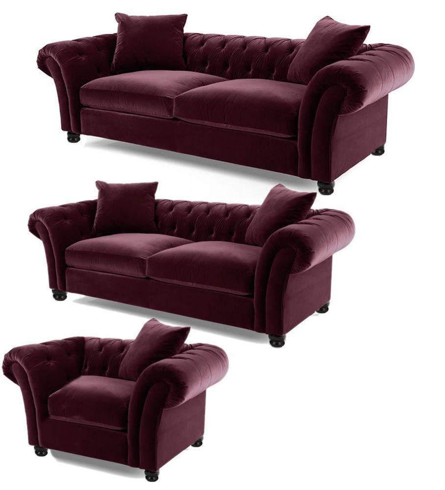 Handmade Luxury Plush Velvet Fabric Chesterfield Sofa 2 Seater Burgundy Red  £329