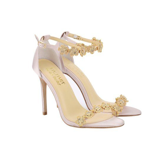 9d2869ffcb1 Blush Wedding Shoes Pink Strappy Bridal Heels with Removable Gold ...