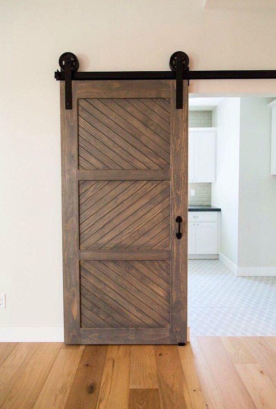 Modern Rustic 3 Panel Herringbone Barn Door In 2019