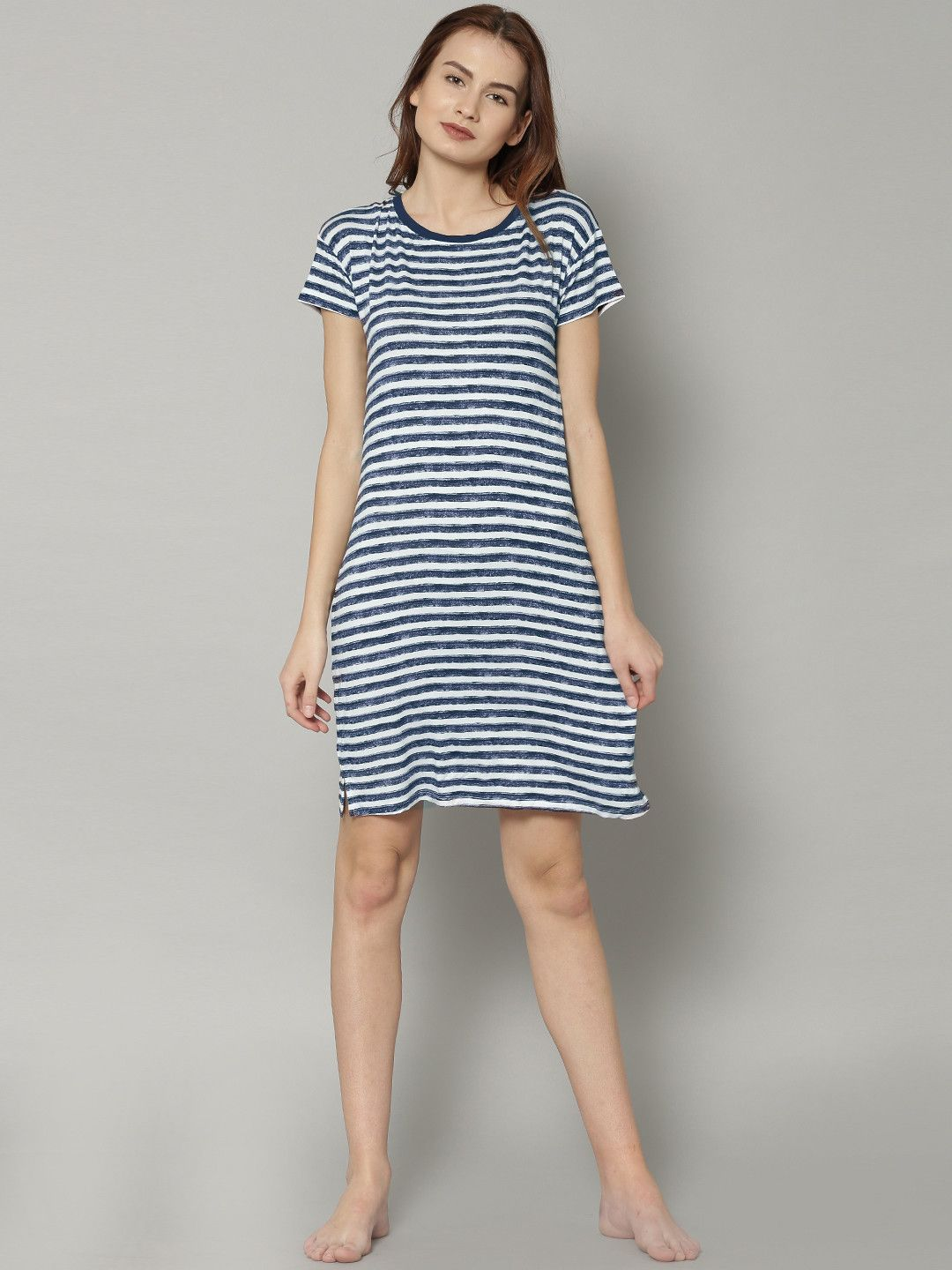 bed3b1352e12 Marks   Spencer Women White   Navy Striped T Shirt Dress  striped  printed   white  blue