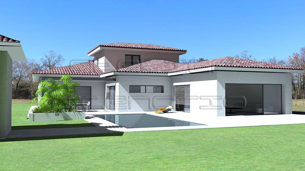 Maison contemporaine à toit ardoises et grande terrasse couverte - logiciel gratuit maison 3d