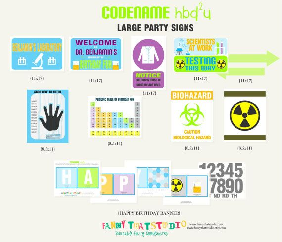 Mad Scientist Science Birthday Codename Hbd2u By Fancythatstudio 8 50 Science Birthday Scientist Birthday Birthday Party Printables
