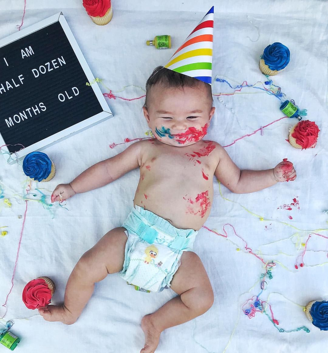 6 Month Baby Pictures Monthly Baby Picture Ideas Half Dozen Months Old Half Birthday T Half Birthday Baby Monthly Baby Pictures 6 Month Baby Picture Ideas