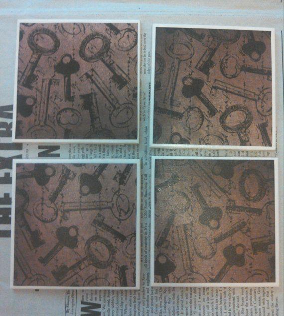 Antique Skeleton Key Tile Coasters by Veraltet on Etsy