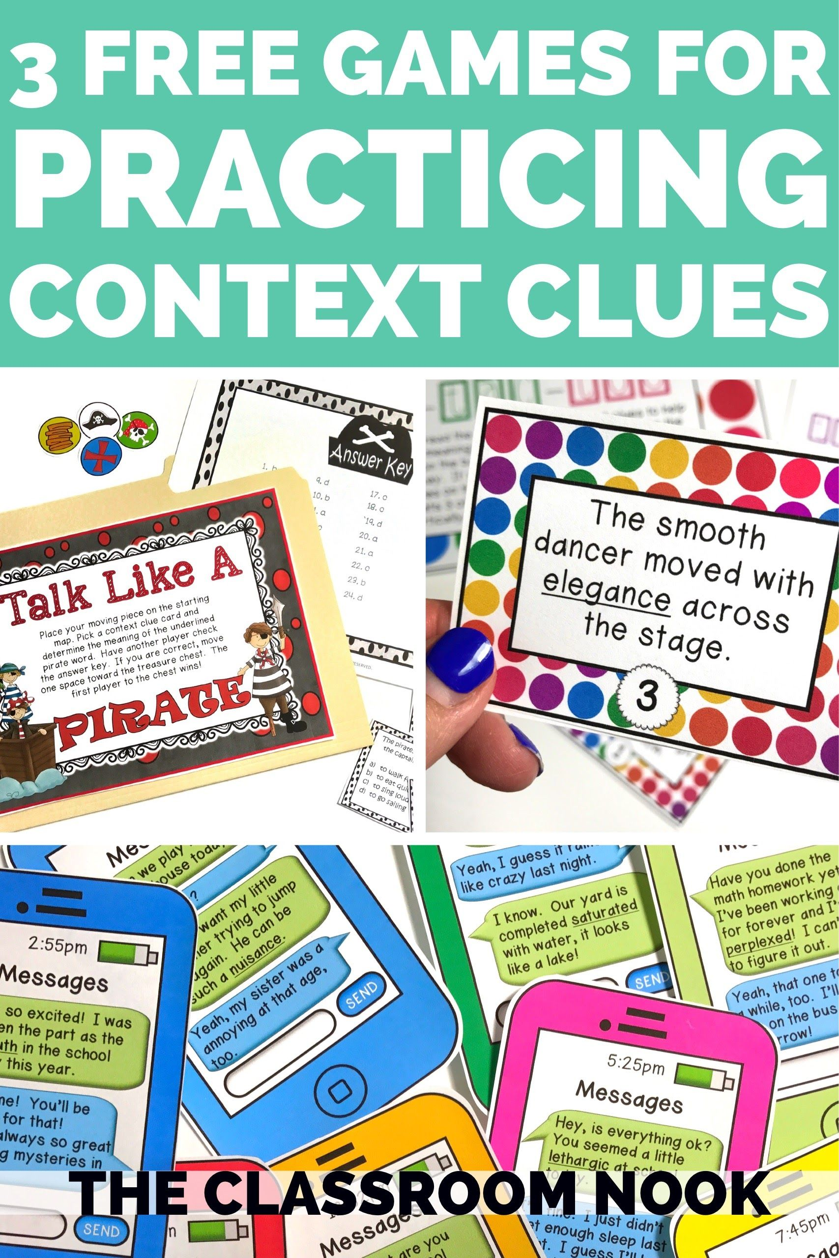 Teacher's Toolkit: 3 (FREE) Games to Help Students Practice Using Context  Clues — THE CLASSROOM NOOK   Context clues [ 2560 x 1707 Pixel ]
