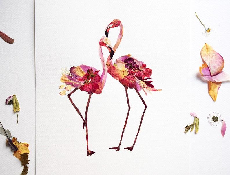 Flamingo Kunstdruck Gepresste Blumenkunst Trockenblumengesteck | Etsy  The post …