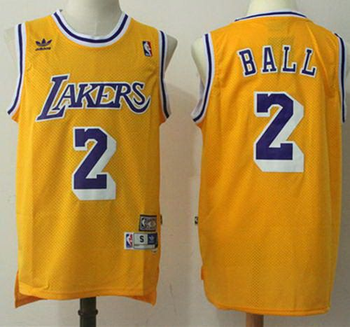 21 Los Angeles Lakers  2 Lonzo Ball Yellow Throwback Stitched NBA Jersey e03796c13
