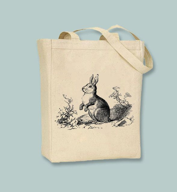 Vintage Bunny Rabbit Canvas Bag  - Selection of sizes available, image in ANY COLOR by Whimsybags on Etsy