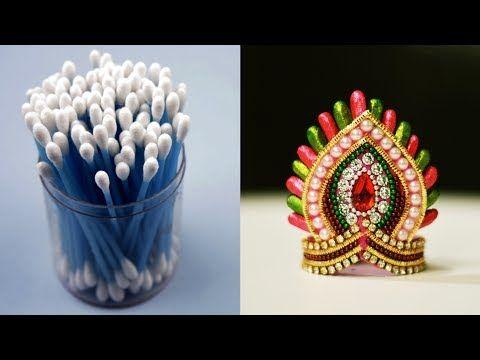 Cotton Bud Mukut Crown For Ganesha Cotton Bud Ganesha