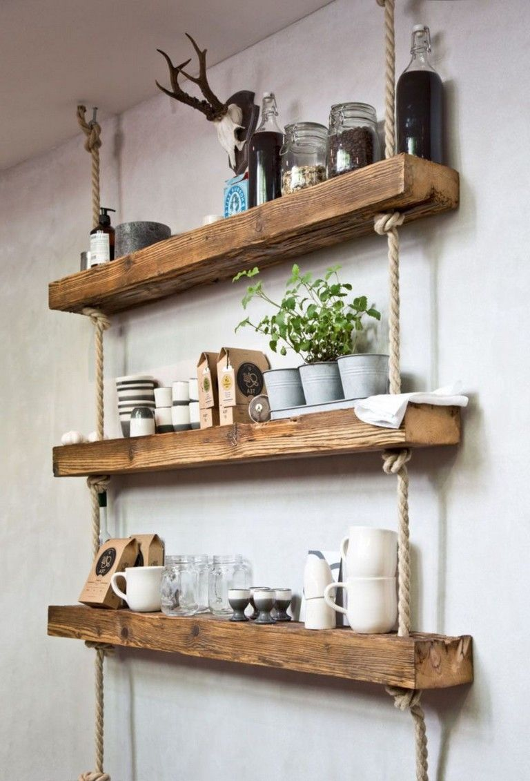 45 Awesome Diy Hanging Shelves For Simple Decoration And Storage Modern Rustic Decor Living Room Living Room