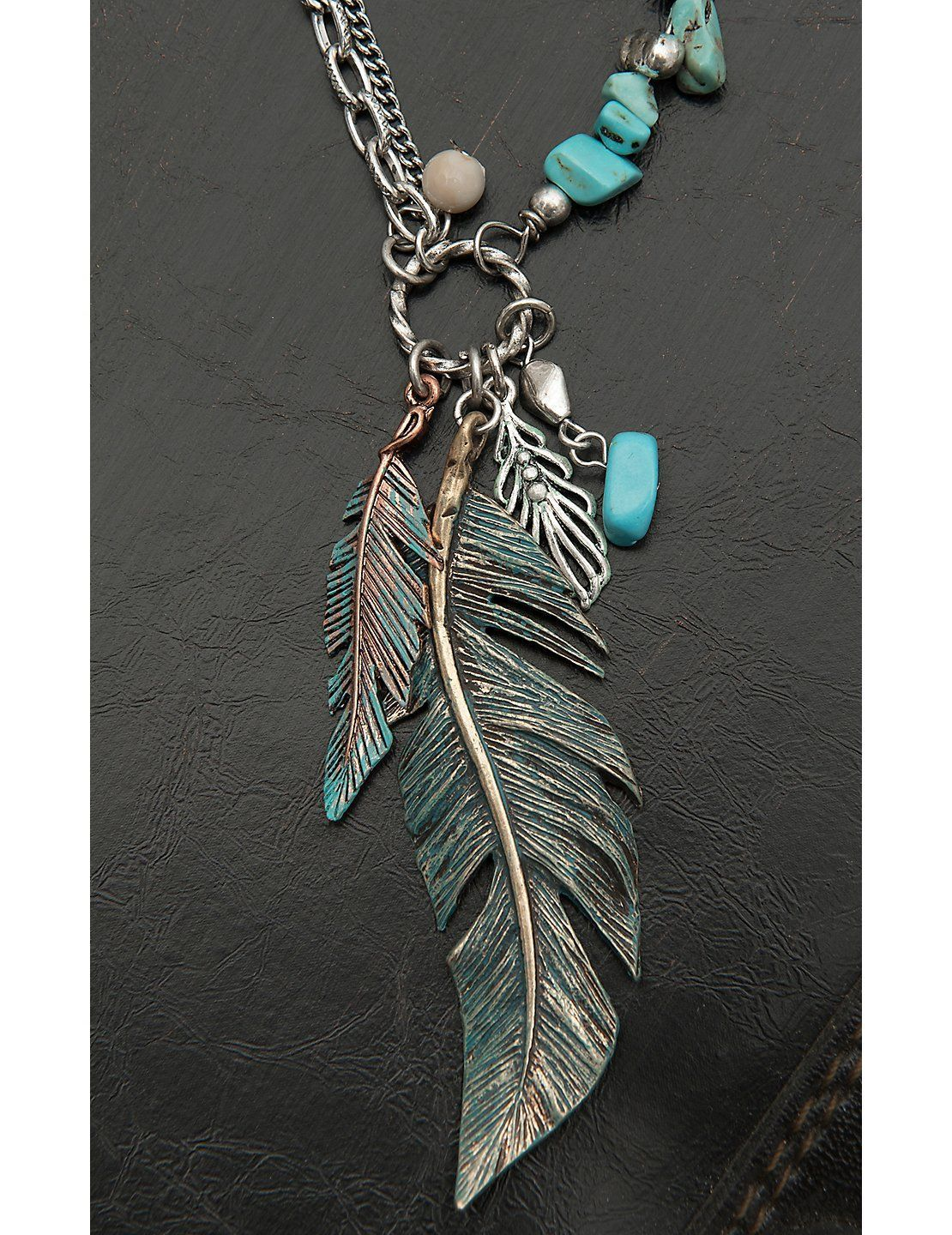 Blazin roxx ladies silver with turquoise beads and feather necklace