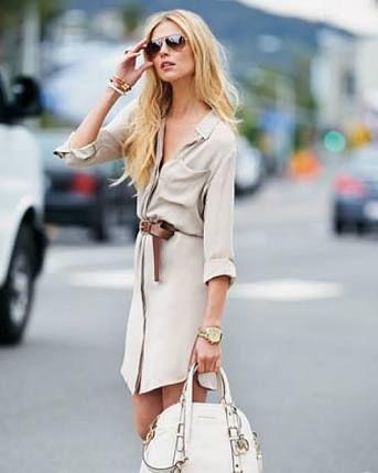 Beige shirt dress
