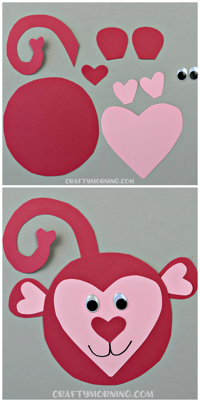 Here's an adorable heart shaped monkey craft for kids ...