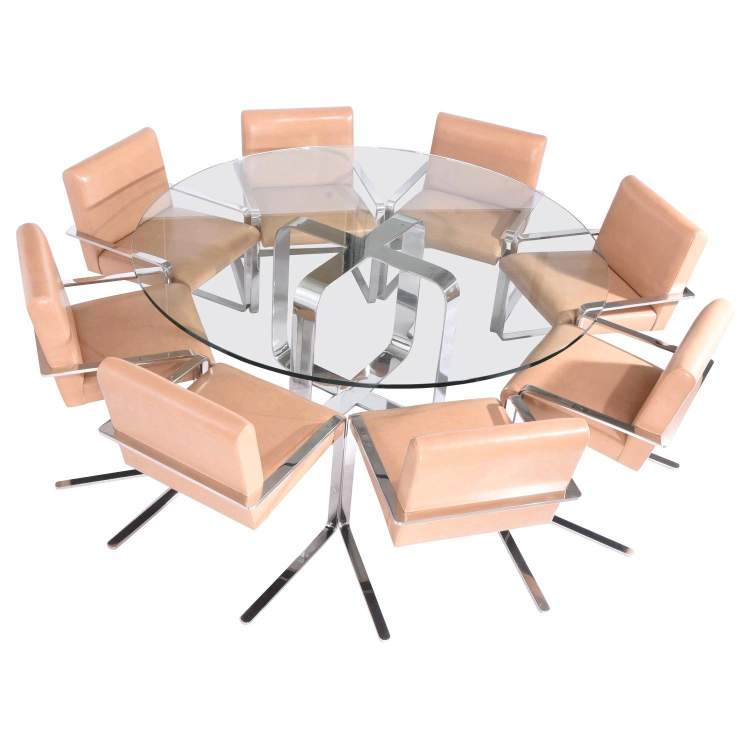 gary gutterman stainless steel dining table and chair set