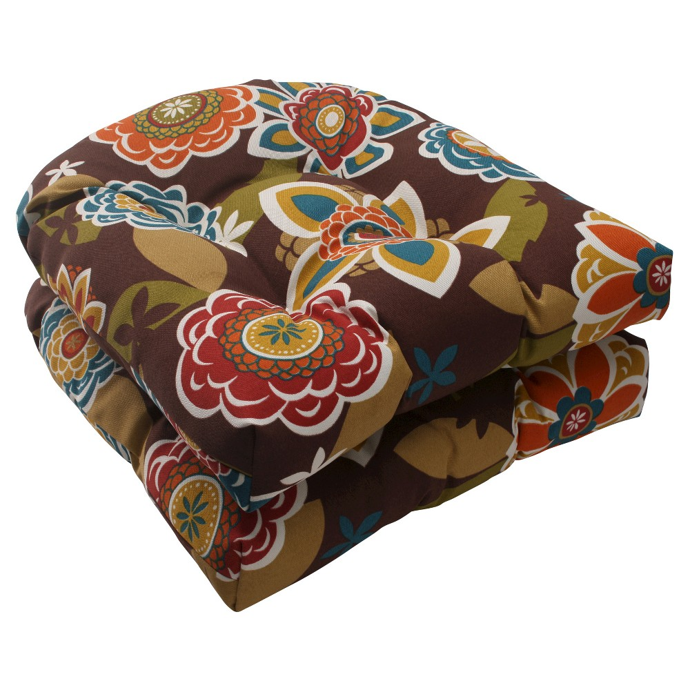 Outdoor 2piece wicker seat cushion set brownturquoise