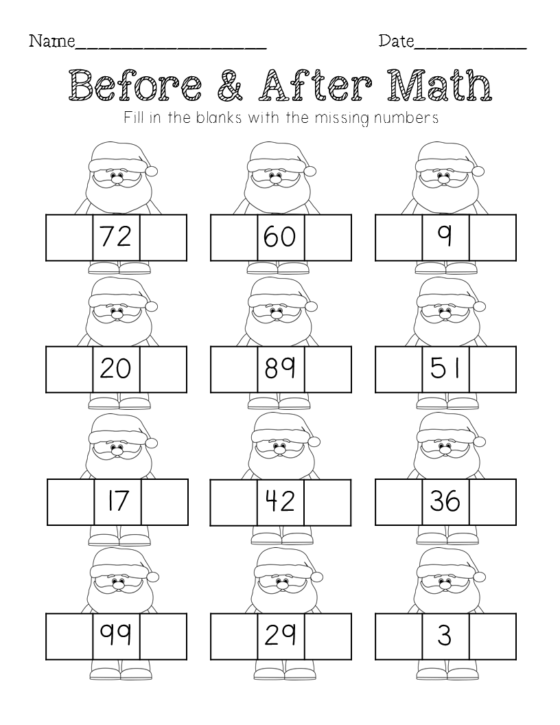 Uncategorized Free Christmas Math Worksheets First Grade christmas math sequencing missing number counting on tens frames