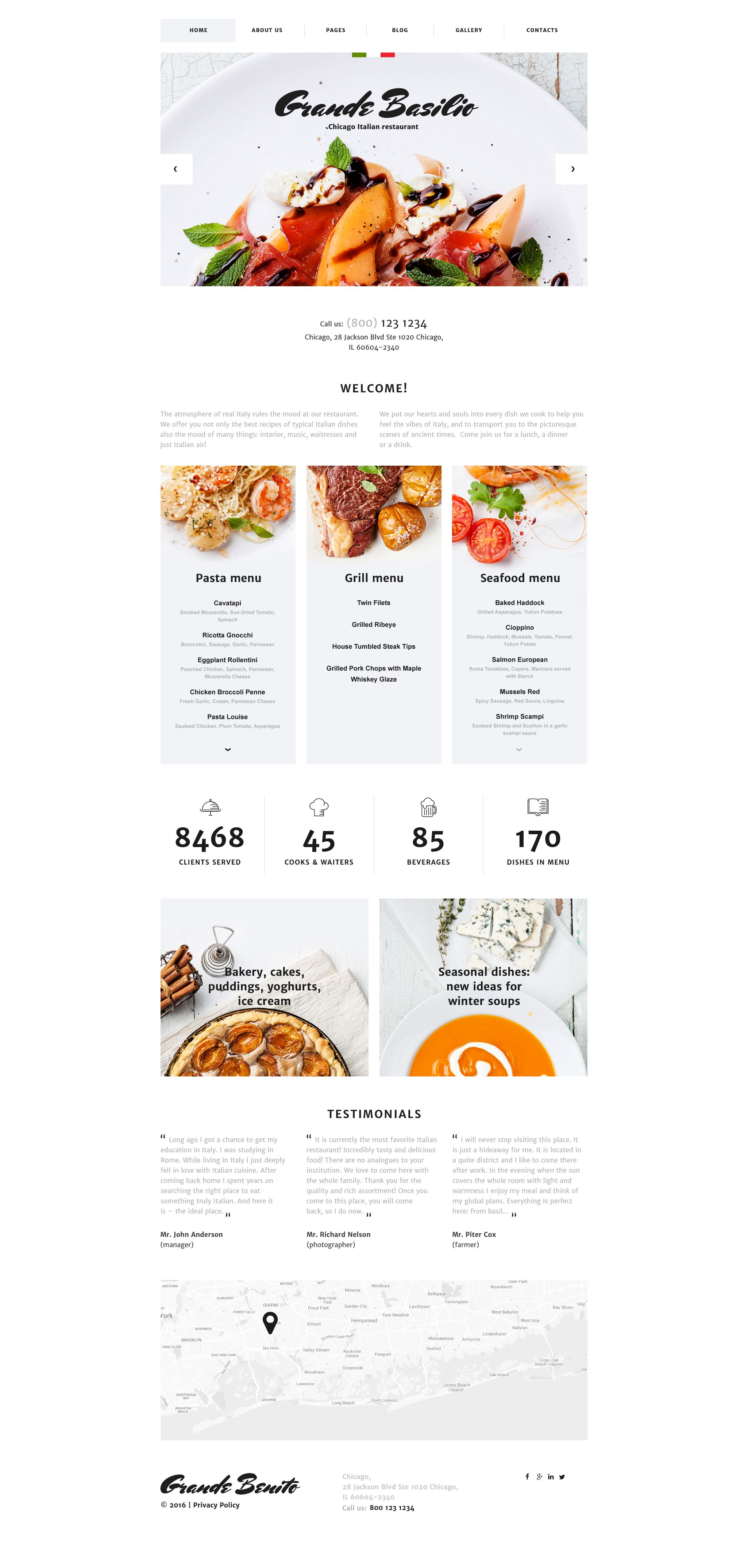Cafe And Restaurant Responsive Joomla Template Pinterest