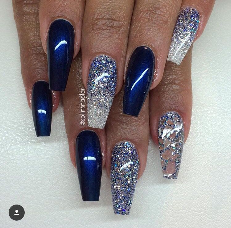 Indigo blue and silver Blue and silver nails, Blue