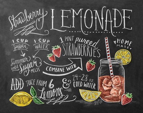 Recipe Print   Summer Kitchen Print   Strawberry Lemonade Recipe   Chalkboard  Art   Hand Drawn