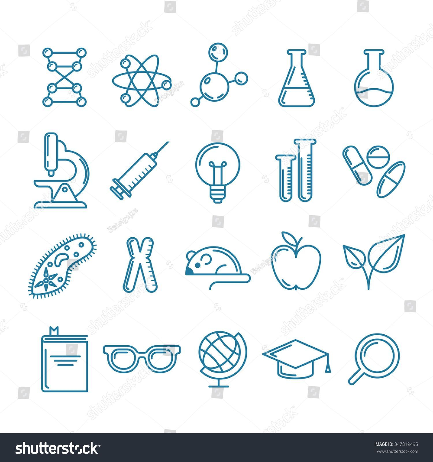 Vector outline icons set and design elements Research technologies and innovation symbols Line logo collection Concept for science education medical chemical industry the...