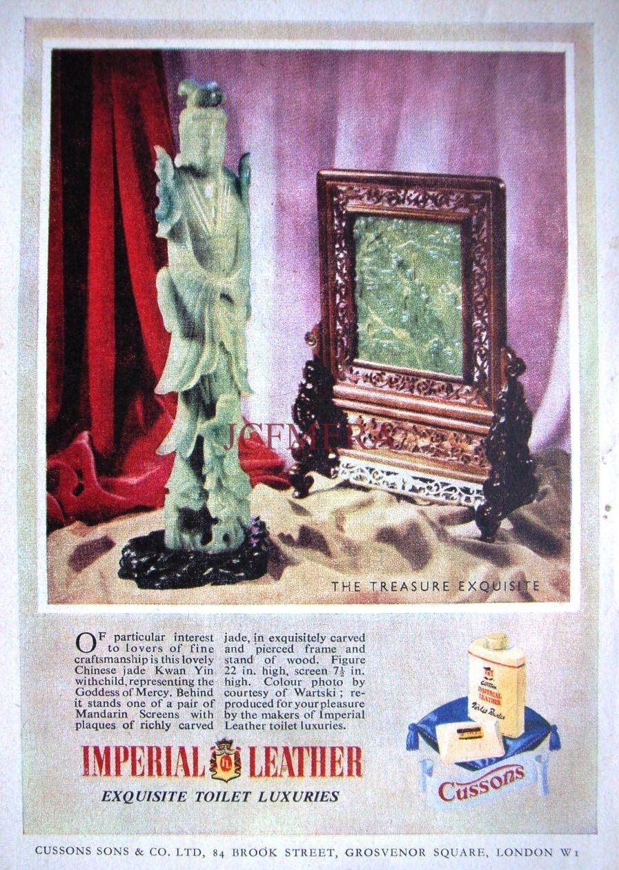 1950s Cussons Imperial Leather Soap Advert Jade Kwan Yin Body Original
