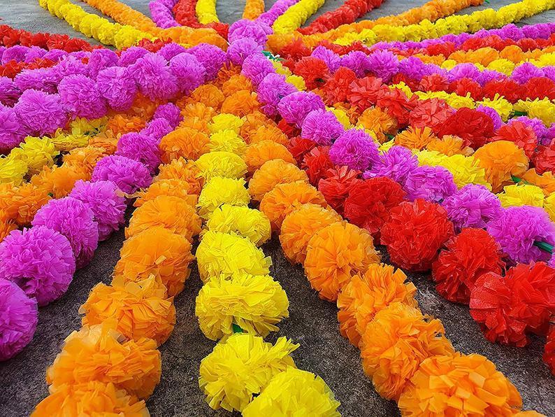 50 Pcs Artificial marigold flower garlands Vine wedding Indian event decoration