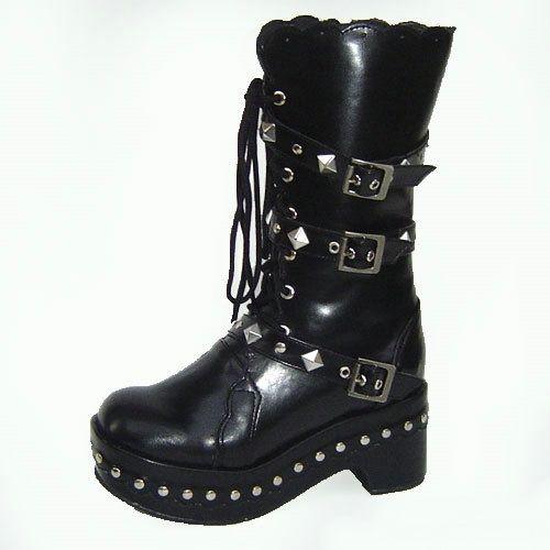 Cool Black Studded Gothic Punk Battle Motorcycle Biker Boots Women SKU-11405160