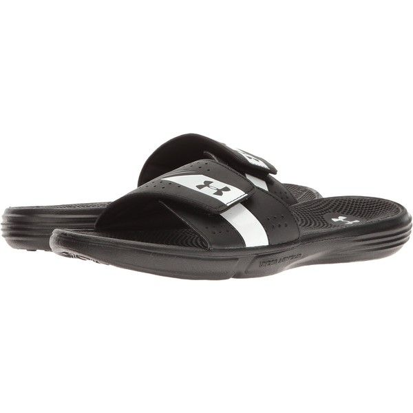 d137bb2b80d152 Under Armour UA Micro G EV III Slide (Black White) Women s Shoes ( 25) ❤  liked on Polyvore featuring shoes