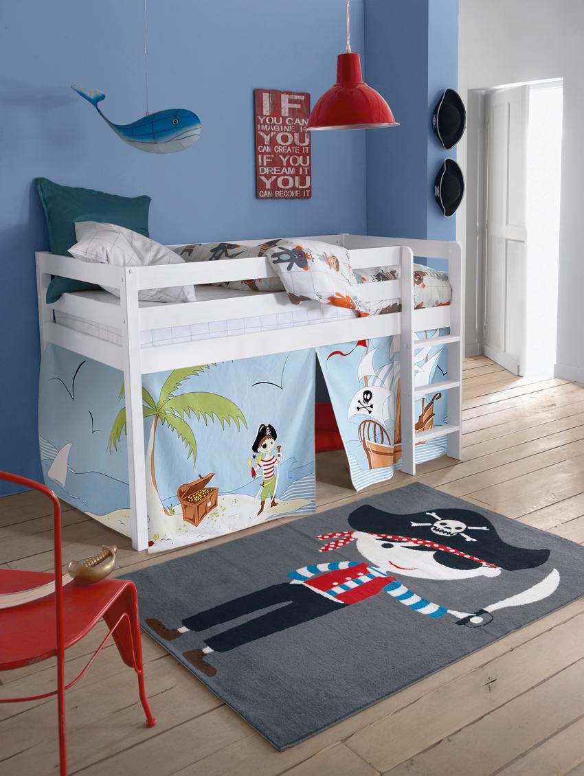 transformez le lit sureleve mirka vendu sur le site en espace de jeu pour votre enfant avec cette tente de lit motif pirate a lui les chasses aux tresors