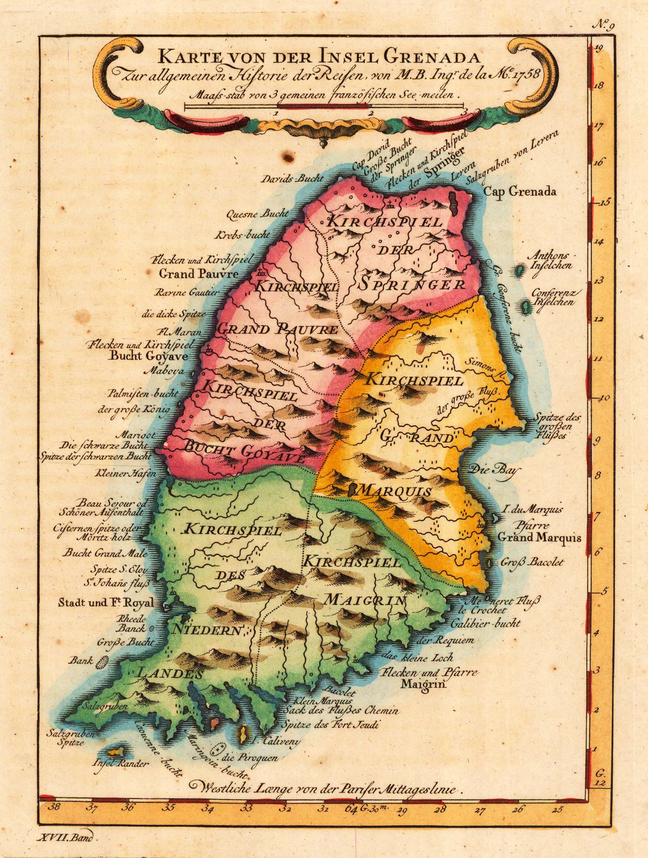 Grenada Map 1756 The best place on earth Backpacking Asia