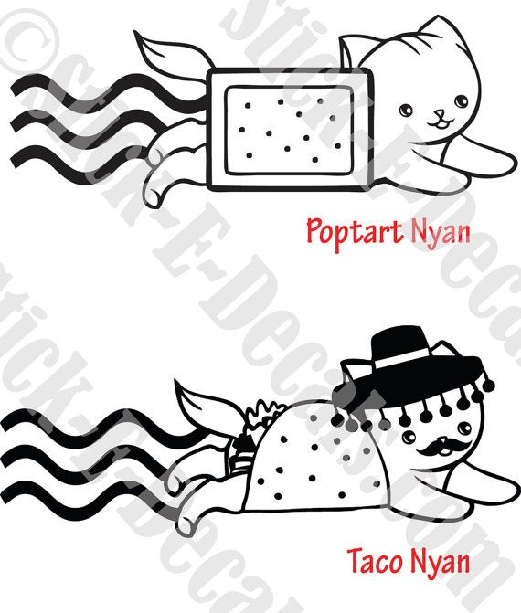 Poptart Or Taco Nyan Cat Decal Sticker Free Usa Shipping Cat Decal Cat Decal Stickers Nyan Cat