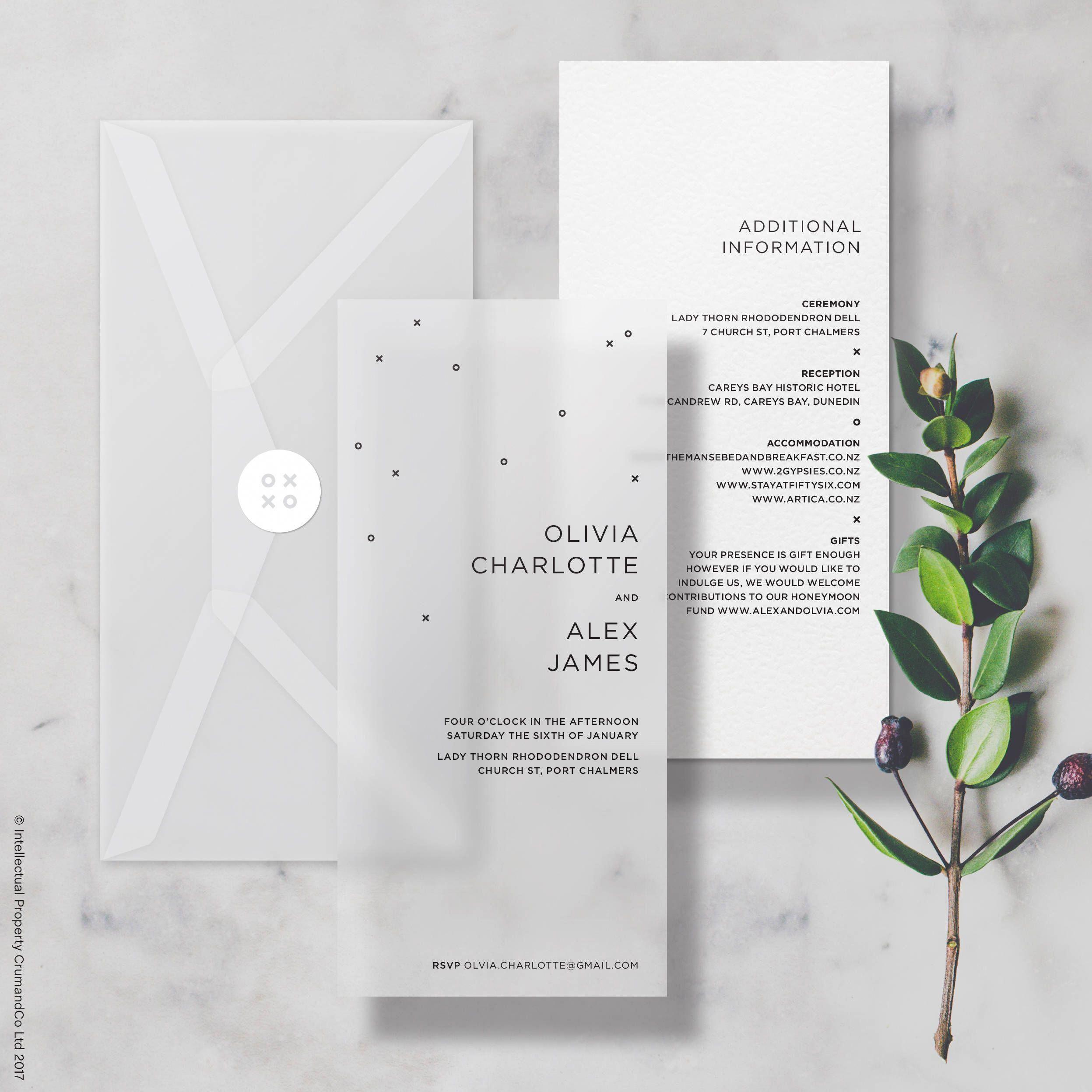 Vellum Minimal Wedding Invitation Invite Includes Info Card Choice Of Envelope Wedd Minimal Wedding Invitation Wedding Invitation Cards Wedding Stationery