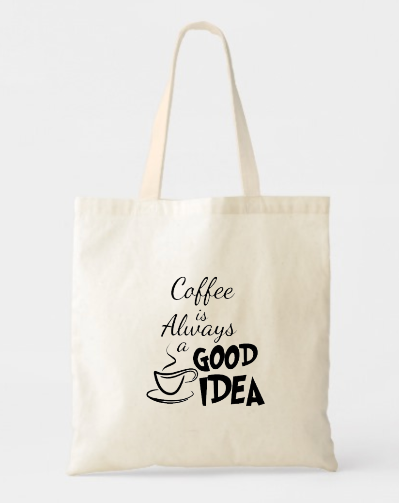 Coffee Lover Canvas Cotton Tote Bags Personalized Coffee Totes Georgiabags Fabric Tote Bags Tote Bag Tote