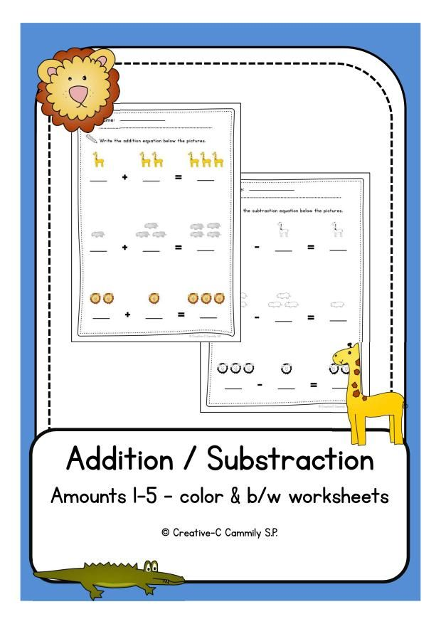 Freebie: Addition / Subtraction worksheets for preschool and ...