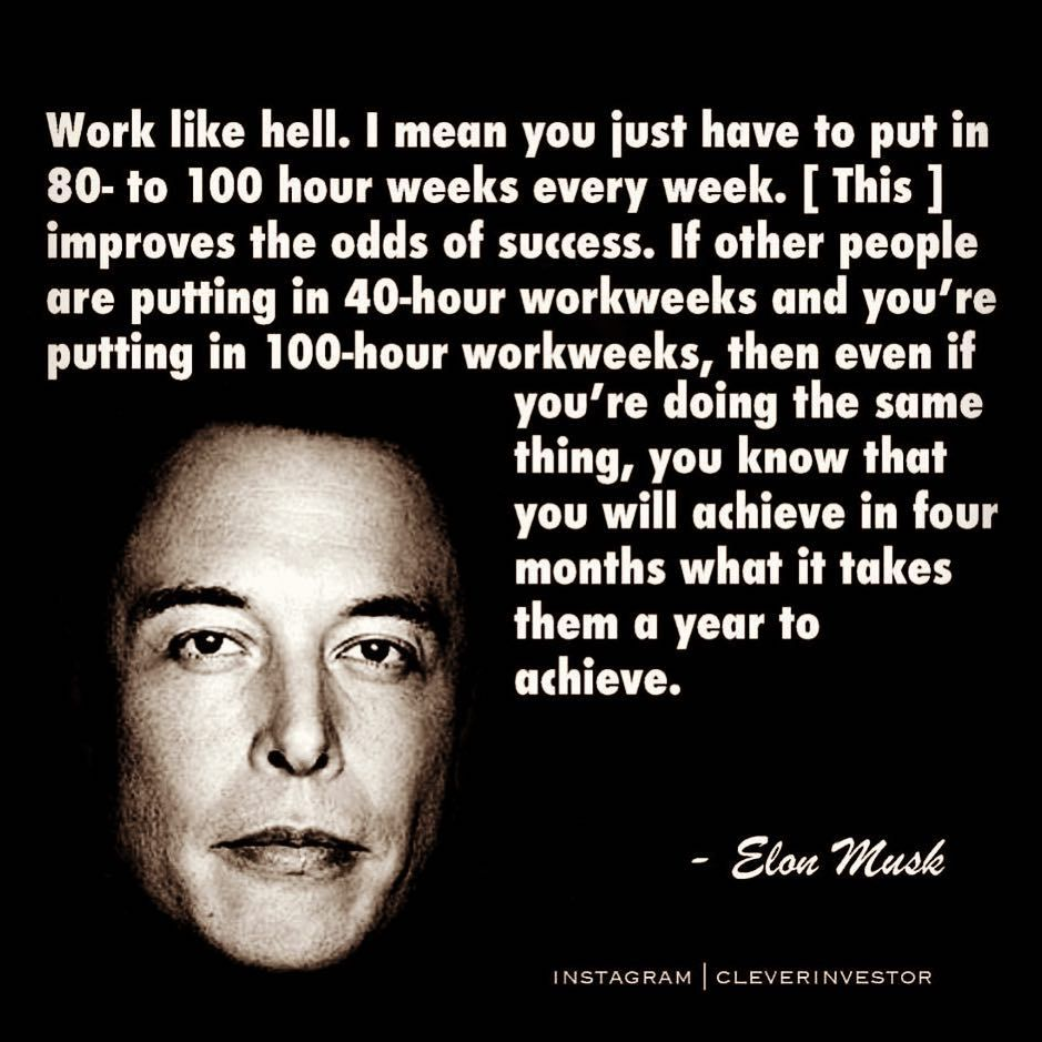 Work Like Hell Elon Musk Elonmusk Workethic Motivationalquotes