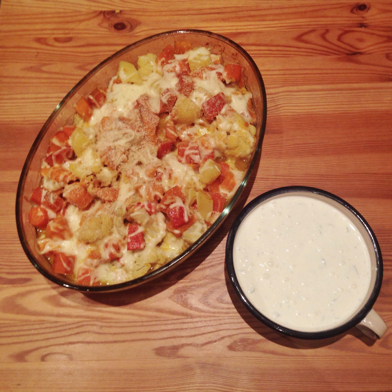 Veggie-Sonntag: Überbackenes Gemüse mit Joghurt-Feta-Dip « pixlpop.de