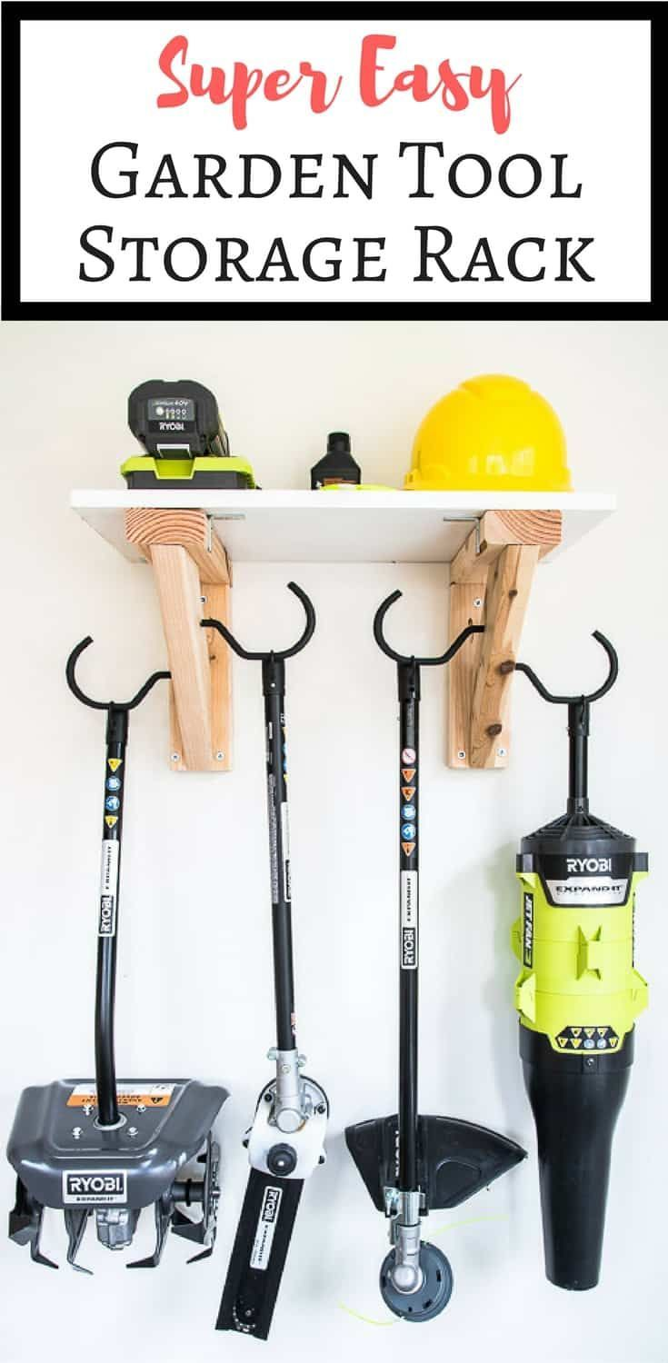 Easy Diy Garden Tool Rack With Images Tool Storage Diy Power Tool Storage Garden Tool Storage