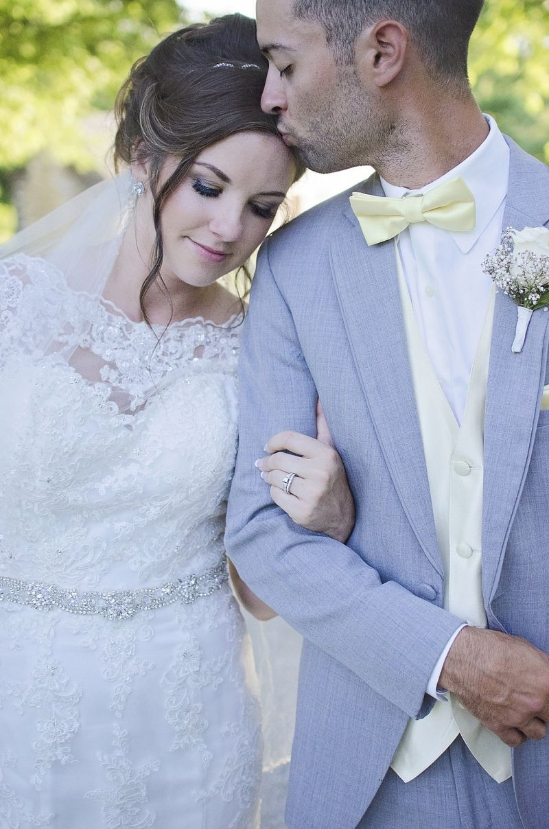 Moonlight Bridal real bride in a lace fit and flare wedding dress ...