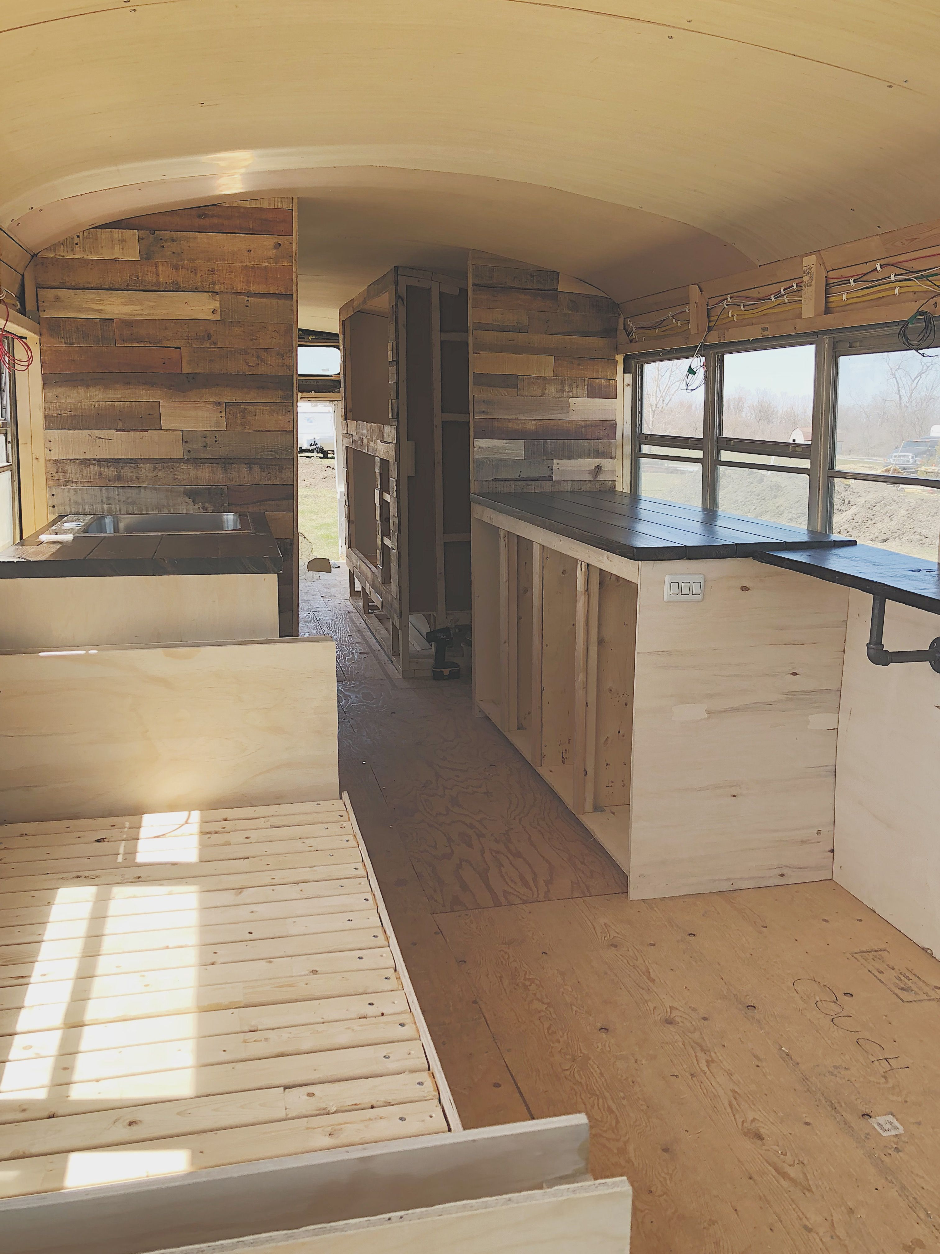Tiny House School Bus Conversion Layout Floor Plan Pallet Walls