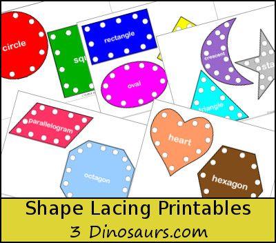 Free Shape Lacing Printable Best Of 3 Dinosaurs Blog Pinterest