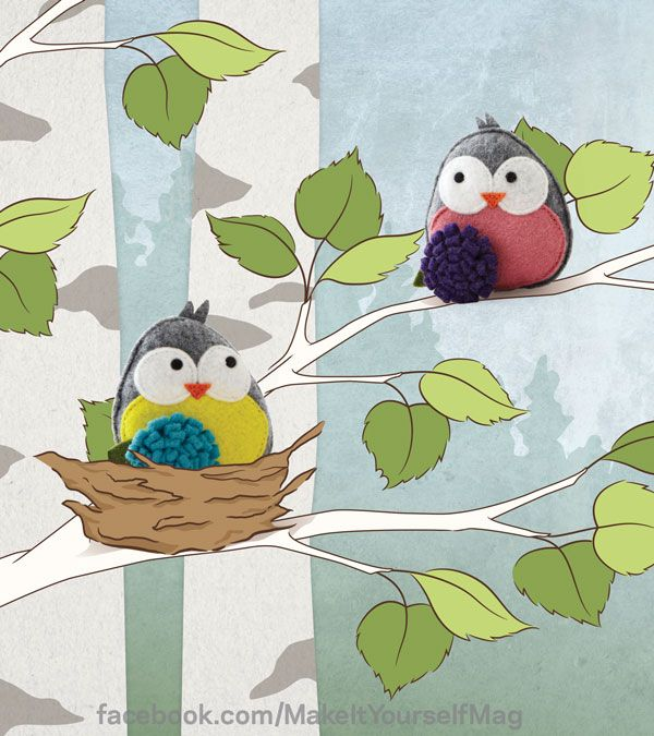 Choose your favorite colors for these felt bird ornaments and customize them to your own style. (Designer: Clara Uribe, @Clara Uribe ) For instructions, purchase your digital issue here: http://www.zinio.com/www/browse/issue.jsp?skuId=416279179&prnt=&offer=&categoryId=