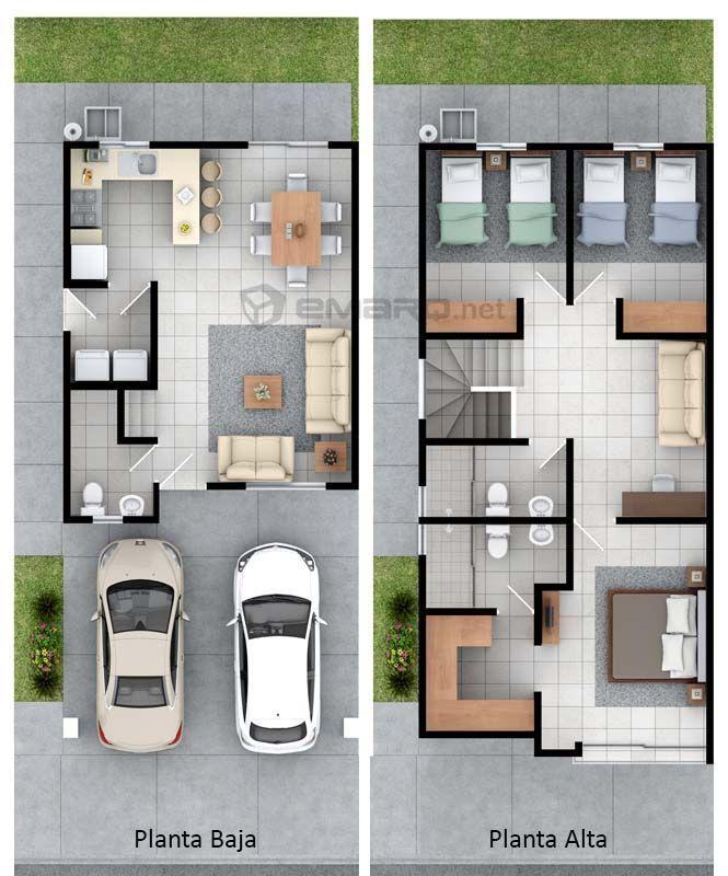 Plano de casa en  render modelosdecasas duplex storey house narrow also planned pinterest rh