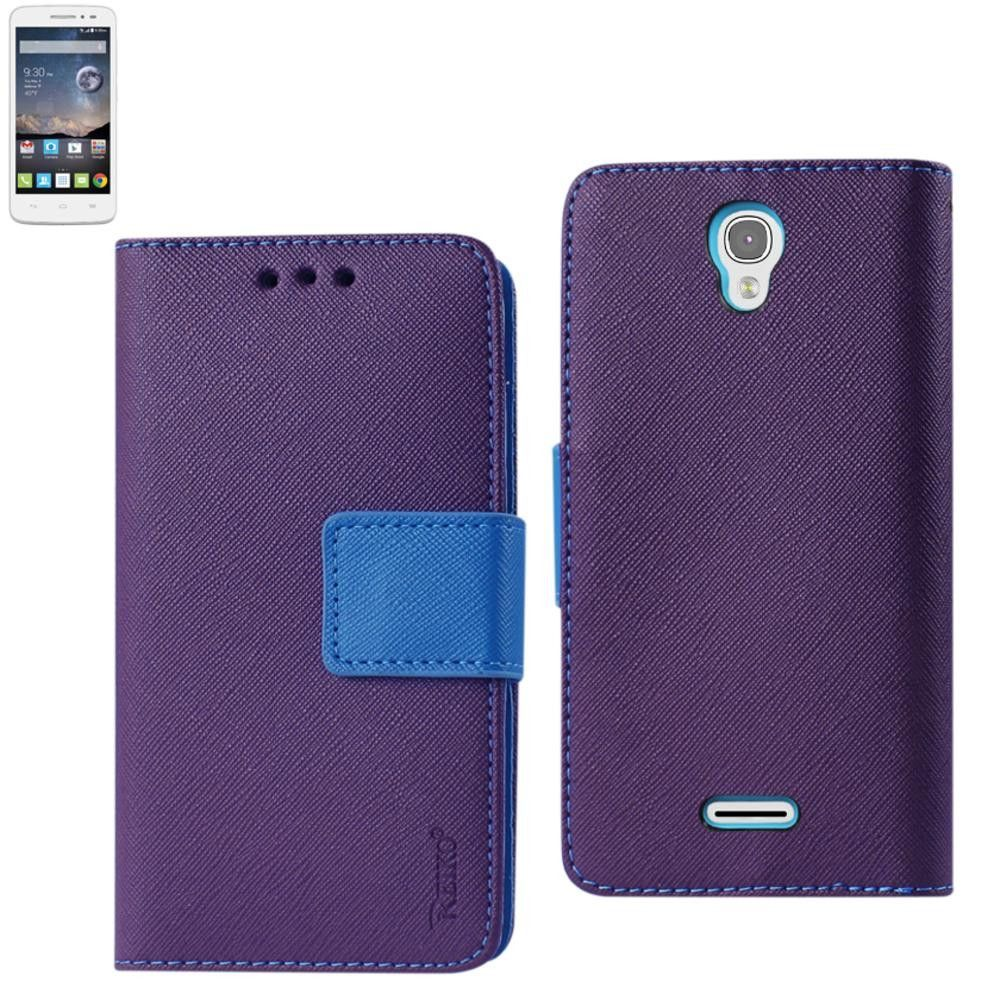 Reiko Wallet Case 3 In 1 For Alcatel Onetouch Pop Astro Purple With Interior Leather-Like Material & Polymer Cover