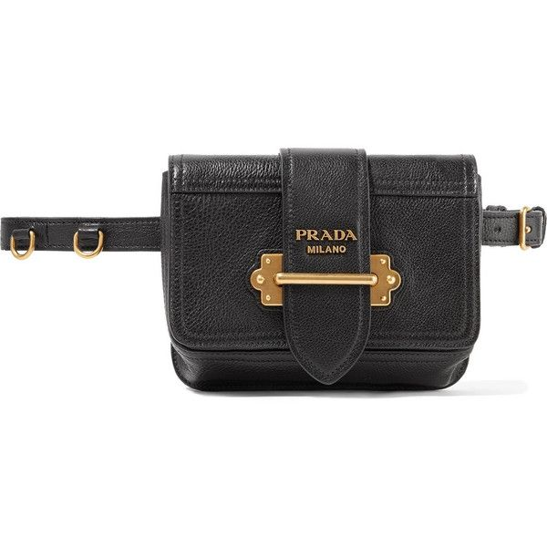 30313d2a256220 Prada Cahier textured-leather belt bag (55,285 THB) ❤ liked on Polyvore  featuring bags, handbags, shoulder bags, black, prada handbags, waist bag,  ...