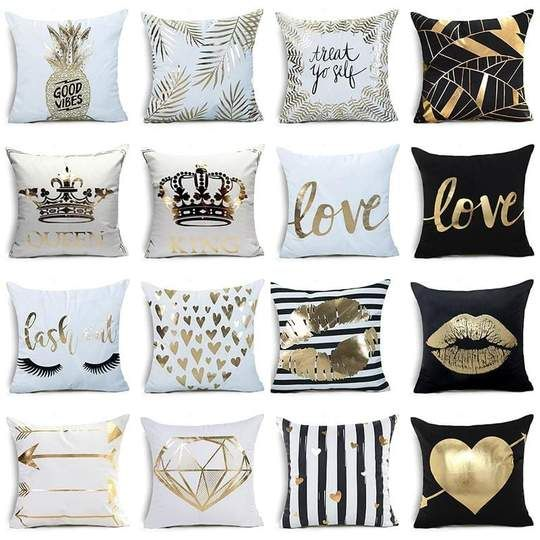 Gold Decorative Pillowcases In 2020 Decorative Pillow Cases Black White And Gold Bedroom Decorative Pillow Covers
