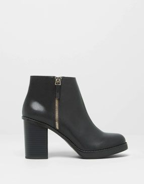 High Heel Ankle Boots With Zip Pull And Bear Sapatos Botas Pretas Botas Curtas