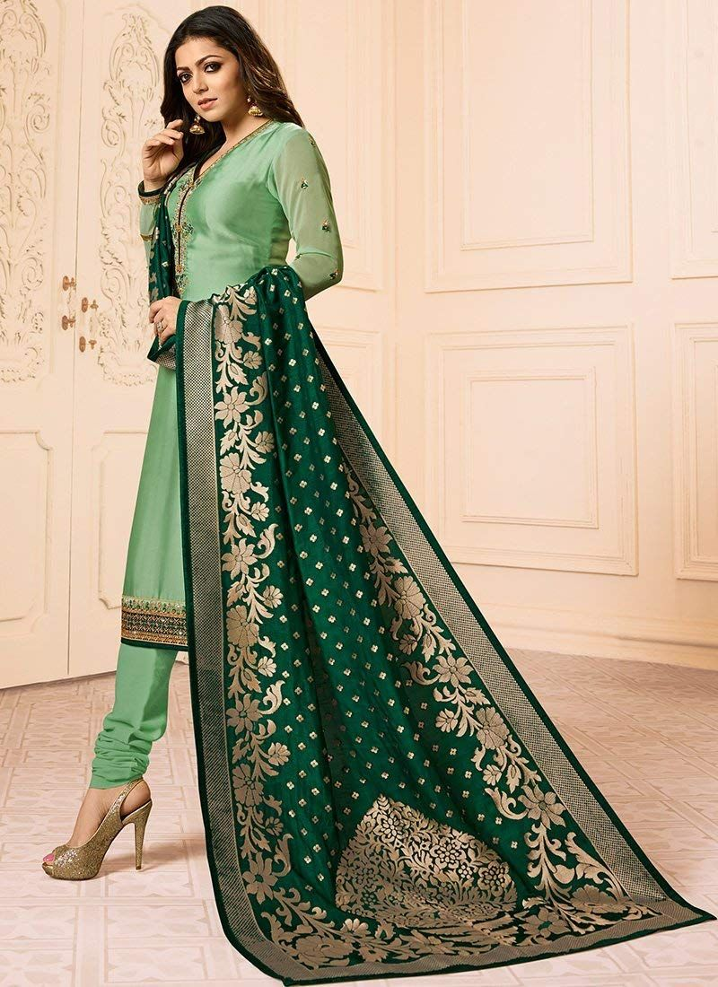 7c05f12c8a Monika Silk Mill Women's Latest Light Green Embroidered Festival Collection Georgette  Churidar Straight Suit Salwar Suit Dress Materials: Amazon.in: ...