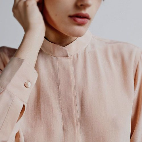blush collarless shirt #style #fashion