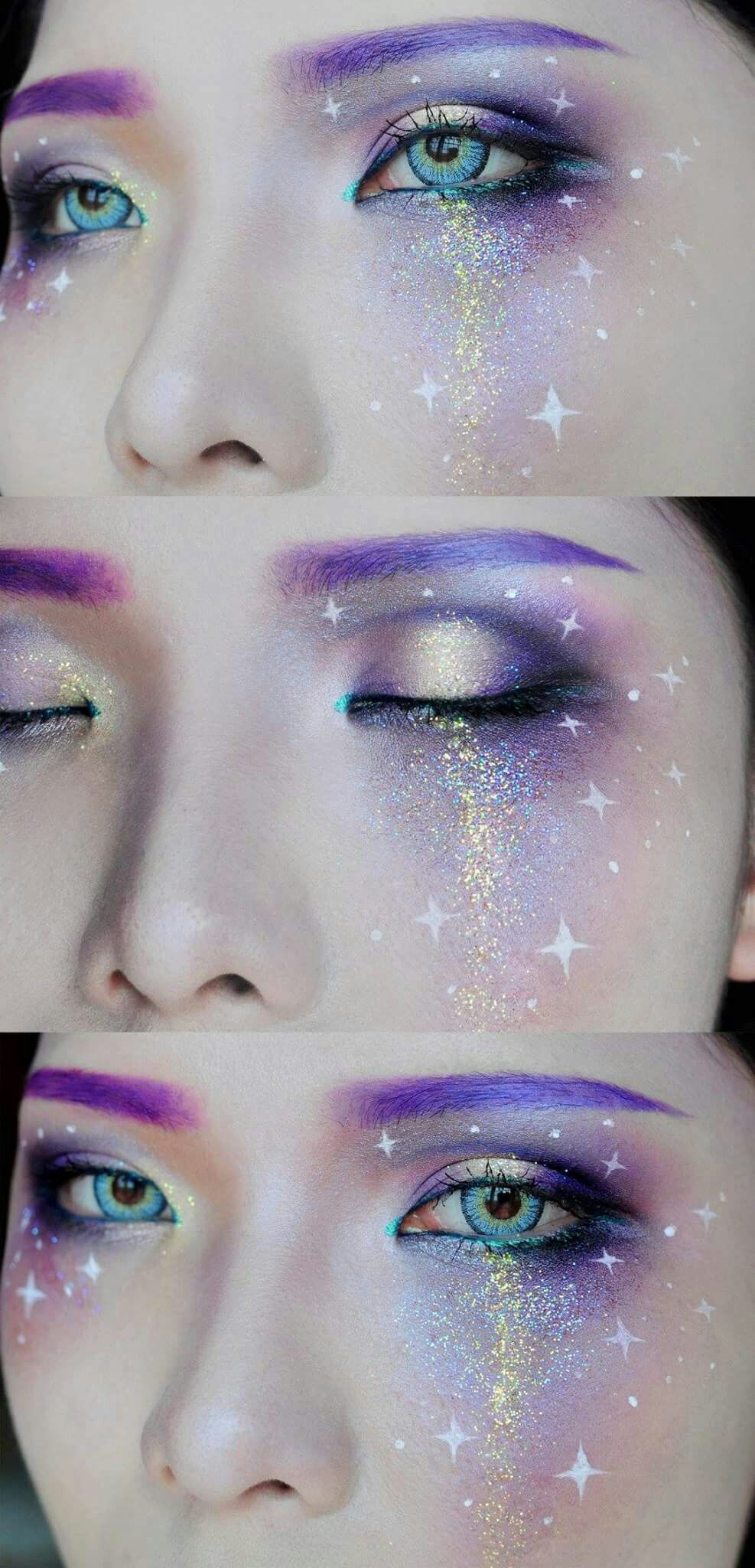 Galaxy Makeup 70s 80s Colorful Makeup Barbie Sparkly Glitter