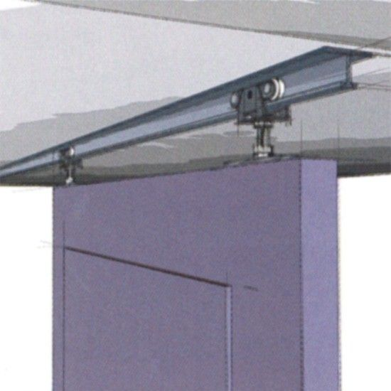 Open mechanism ceiling mount door rail you can see the for Ceiling mounted sliding panels